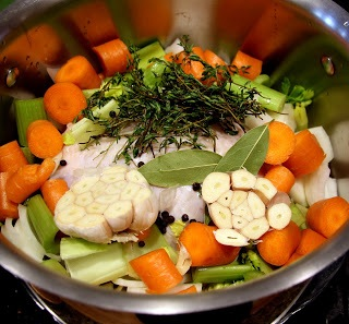 chicken stock ingredients in pot
