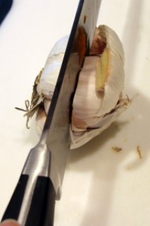 head of garlic, halved