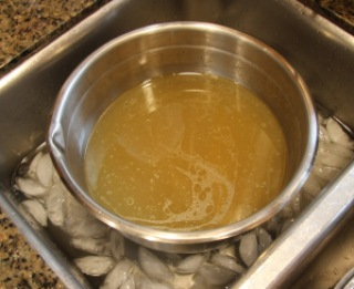 chicken stock in ice bath
