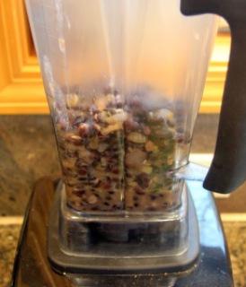 Vitamix blending refried black bean mixture