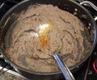skillet with refried beans