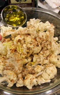 olive oil added to cauliflower