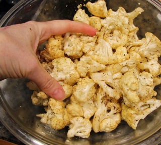 coating cauliflower with seasonings