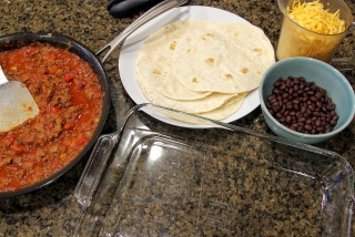 ingredients to layer tortilla casserole